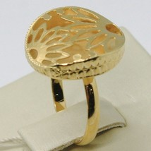 18K YELLOW GOLD RING FINELY WORKED FLOWER CIRCLE CENTRAL DAISY SUN MADE IN ITALY image 1