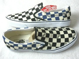 Vans Womens Classic Slip On Big Check Black Navy Blue Canvas Shoes Size ... - $63.69
