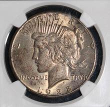1928 AU 58 Almost Uncirculated Key Date NGC Graded Peace Silver Dollar - $499.95