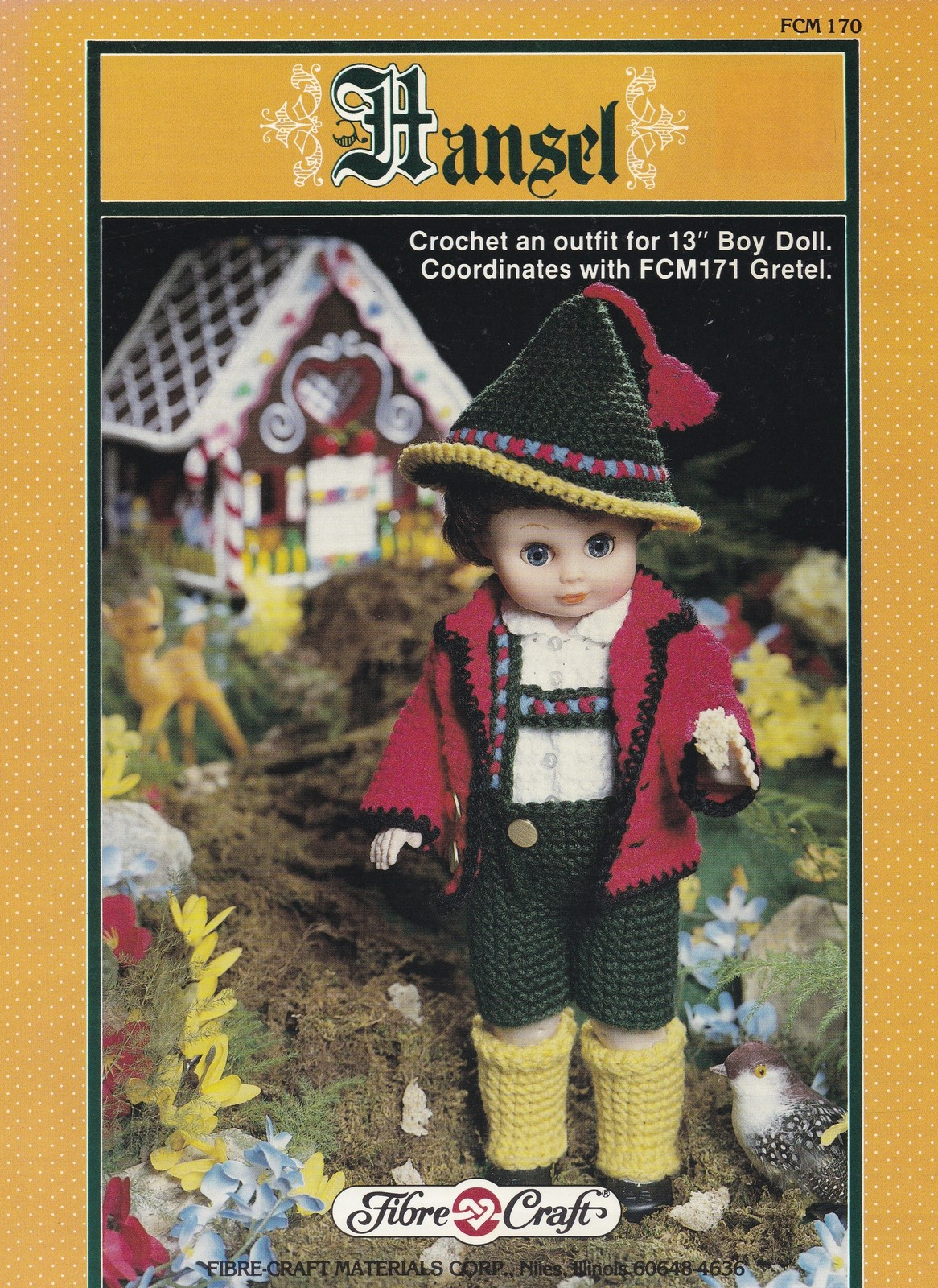 Hansel, Fibre Craft 13 inch Male Doll Clothes Crochet Pattern Booklet FCM170