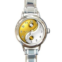 Ladies Round Italian Charm Bracelet Watch Gold Yin Yang Gift model 25454468 - $11.99