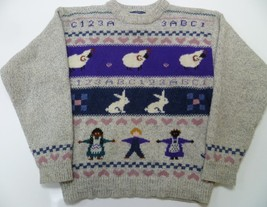 Vtg WOOLRICH Wool Blend Sheep Bunnies People Sweater Medium M Women's Kn... - $29.99