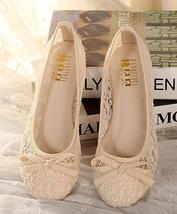Ivory See Through Lace Shoes,Beige lace styles flats,Lace Ballet Flats shoes - $48.00