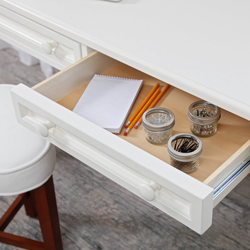 small writing desk white wood table home office living