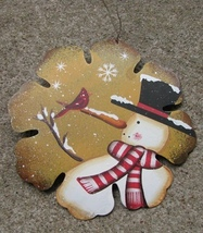 40007Y - Yellow Snowman Ton Christmas  Ornament - $2.95