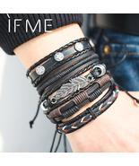 IF ME Vintage Leaf Feather Multilayer Leather Bracelet Men Fashion Braid... - $14.99