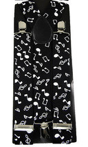 "Unisex Clip-on Braces Elastic Wide ""Music Note"" Suspender - $3.95"