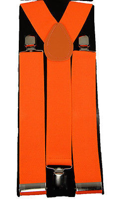 "Unisex Clip-on Braces Elastic Wide ""Orange"" Suspender"