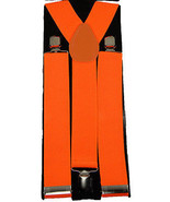"Unisex Clip-on Braces Elastic Wide ""Orange"" Suspender - $3.95"