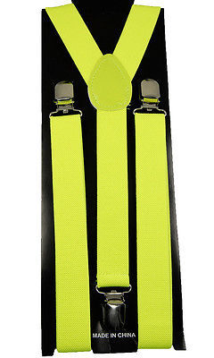 "Unisex Clip-on Braces Elastic Suspender ""Neon Yellow"" Y- back Suspender"