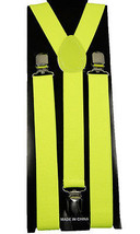 "Unisex Clip-on Braces Elastic Suspender ""Neon Yellow"" Y- back Suspender - $6.92"