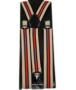 "Mens Unisex Clip-on Braces Elastic ""Beige/Blue/Red"" Stripe Y Back Suspender - $6.92"