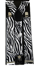"Unisex Clip-on Braces Elastic Wide ""New White Zebra"" Suspender - $3.95"