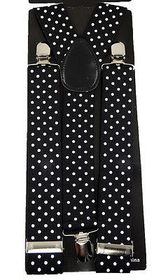 "Unisex Clip-on Braces Elastic Wide ""Black/White Polka Dot"" Suspender"