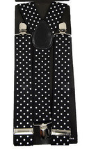 "Unisex Clip-on Braces Elastic Wide ""Black/White Polka Dot"" Suspender - $3.95"
