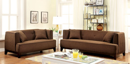 Mosjoen 2-pieces Sofa Set Upholstered in Brown Fabric with Pillows - €939,84 EUR