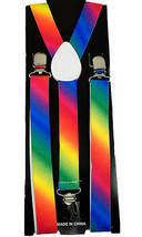 "Unisex Clip-on Braces Elastic ""Rainbow"" Suspender - $6.92"