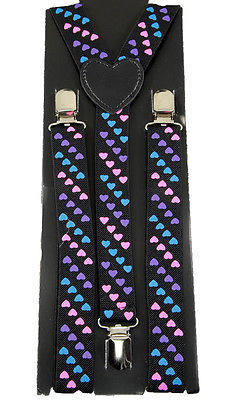 "Unisex Clip-on Braces Elastic ""Small Heart"" Suspender"