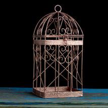 Rose Gold Bird Cage, Rose Gold Wedding Decor, Pink Gold Candle Lantern - $32.00