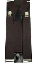 "Unisex Clip-on Braces Elastic Wide ""Brown"" Y Back Suspender - $3.95"
