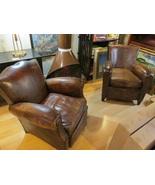 Pair Authentic Antique Mustache Cognac Leather Club Chairs, France c.1930 - $3,800.00