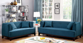 Mosjoen 2-pieces Sofa Set Upholstered in Dark Teal Fabric with Pillows - $1,386.00