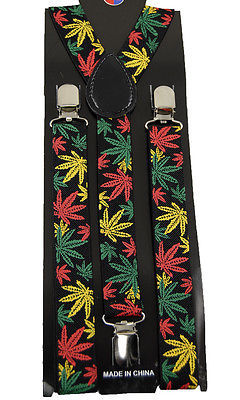 Unisex Clip-on Braces Elastic Suspender Marihuana