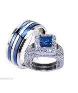 His & Hers Sapphire Blue & Clear Cz Wedding Rin... - $59.99