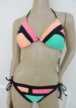 Nwt The Bikini Lab Triangle Swim Swimsuit 2 PC Set Sz L Large Block Green Peach - $32.62