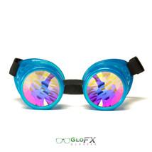 GloFX Glow Blue Kaleidoscope Goggles Steampunk Gothic EDM Party Glow Rave Prism - $49.99