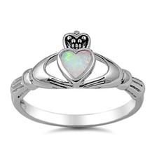 Sterling Silver Claddagh ring CZ White Opal size 4 5 6 7 8 9 10 Midi Iri... - $12.97