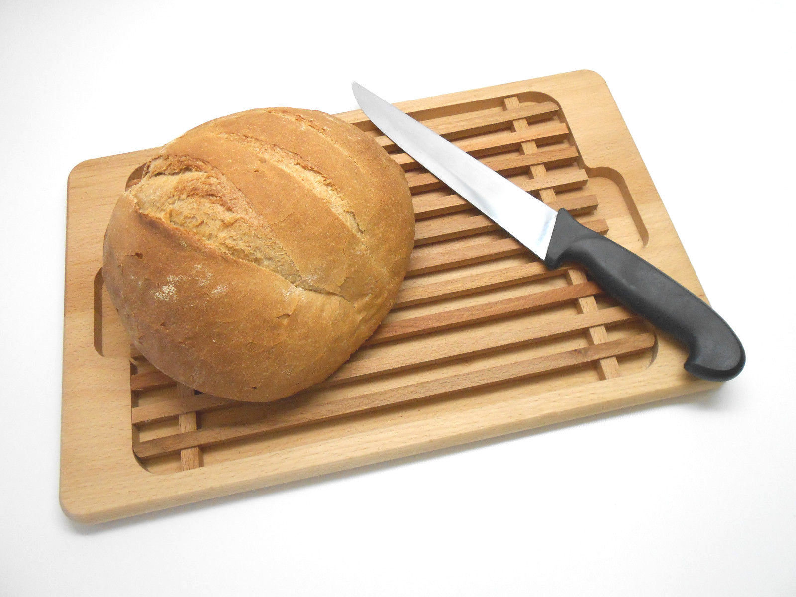 Wooden Bread Cutting Board Crumb Catcher Board 15 inch Long 39 cm