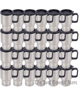 WHOLESALE Lot of 24 Stainless Steel 14oz Travel Mugs with Tapered Bottom - $83.79