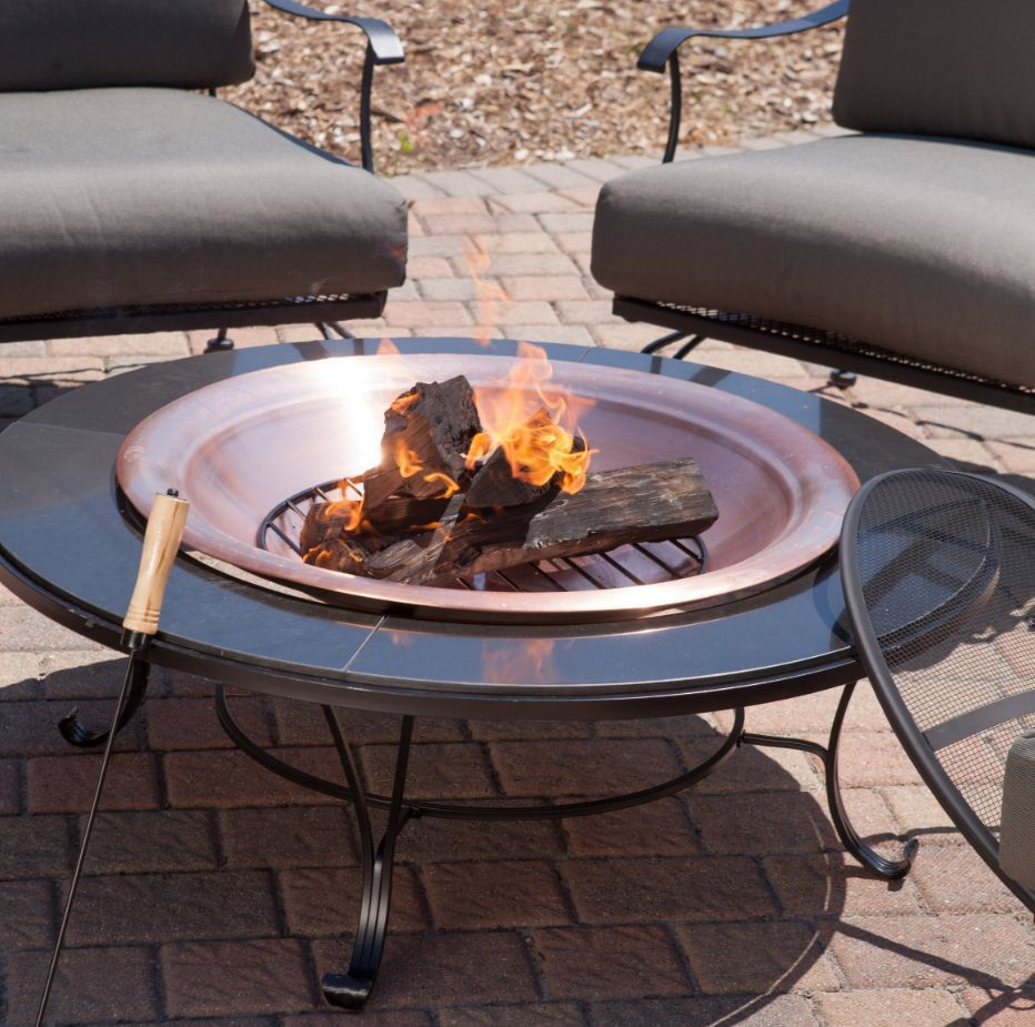 Patio Table With Wood Burning Fire Pit: Fire Pit Table Wood Burning Round Outdoor Garden Patio