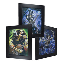 3 Dimension 3D Lenticular Picture Skull Band Guitar Drum Graveyard Rock ... - $21.28