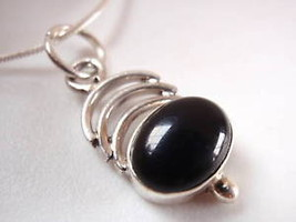 Black Onyx 3-Crescent 925 Sterling Silver Necklace New - $343,03 MXN