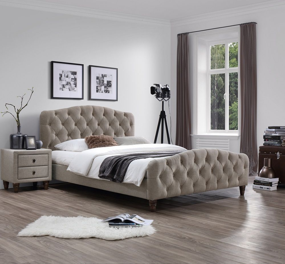 J&M Sandra Queen Size Bed Taupe Fabric Chic Modern style