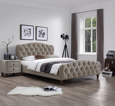 J&M Sandra Queen Size Bed Taupe Fabric Chic Modern style - €745,32 EUR