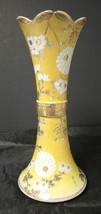 """Unique 1920s Hand Painted Japanese Satsuma 11 3/4"""" Yellow White Flowers ... - $45.59"""