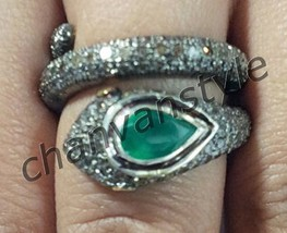Snake Look Antique Look 2.50C Rose Cut Diamond 925 Silver Emerald Ring C... - $6.092,59 MXN