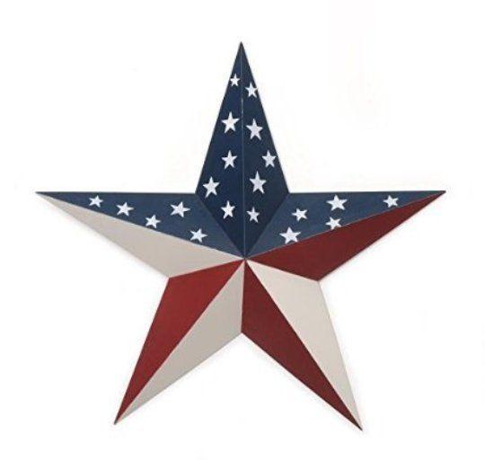 Large 18 inch americana flag pattern tin star 4th july celebration
