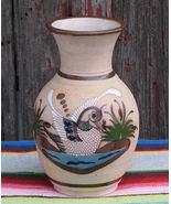 Vintage Tonala Vase Mexican Folk Art Ceramic Pottery Duck Swan Bird Signed - $32.00