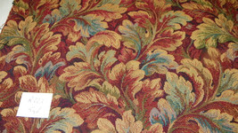 Burgundy Gold Beige Tapestry Print Upholstery Fabric  1 Yard  R223 - $44.95