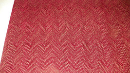 Burgundy Gold Chevron Print Chenille Upholstery... - $35.95