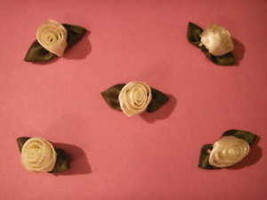 24 pastel yellow satin barrel tulip rose applique flower - $1.97