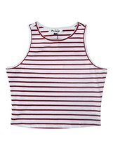 PERSUN Womens Summer Basic Red Striped Cut Away Crop Tank Top,Small - $12.25