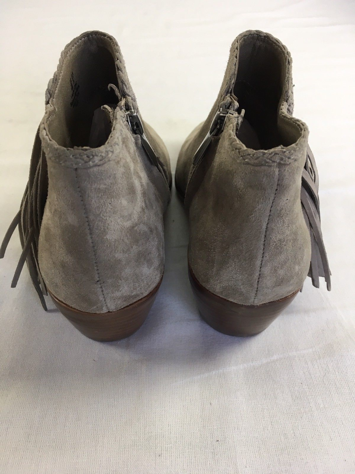 6db9c3f74946 SAM EDELMAN Ankle Booties Paige Fringe Boots Putty Grey Suede Leather 4 New