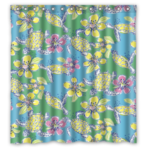 Floral Pattern Moving Slowly Shower Curtain Waterproof Made From Polyester - $29.07+