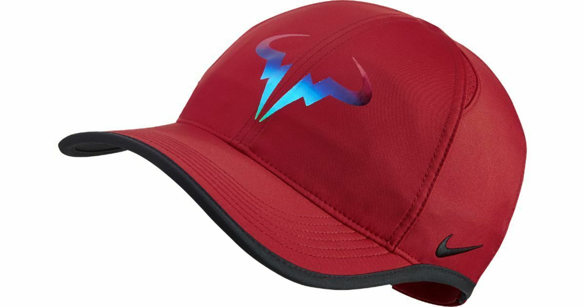 NEW! RARE Nike Rafa Nadal Bull Featherlight Adjustable Tennis Hat-Red/Neon