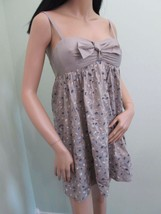 BCBG MAXAZRIA textured cotton woven babydoll tan dress $240 size 4 NEW - $53.34